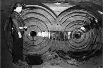 The double-circle excavation pattern created by the spinning disks of the Alkirk miner.