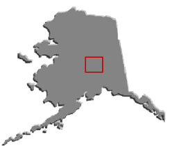 Map of Alaska with tunnel location outlined in red.