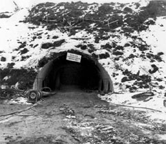 The tunnel portal during construction.