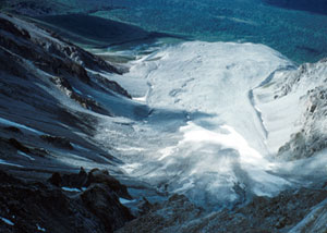 Photo shows a rock glacier taken from above in the Chugach Mountains, Alaska.