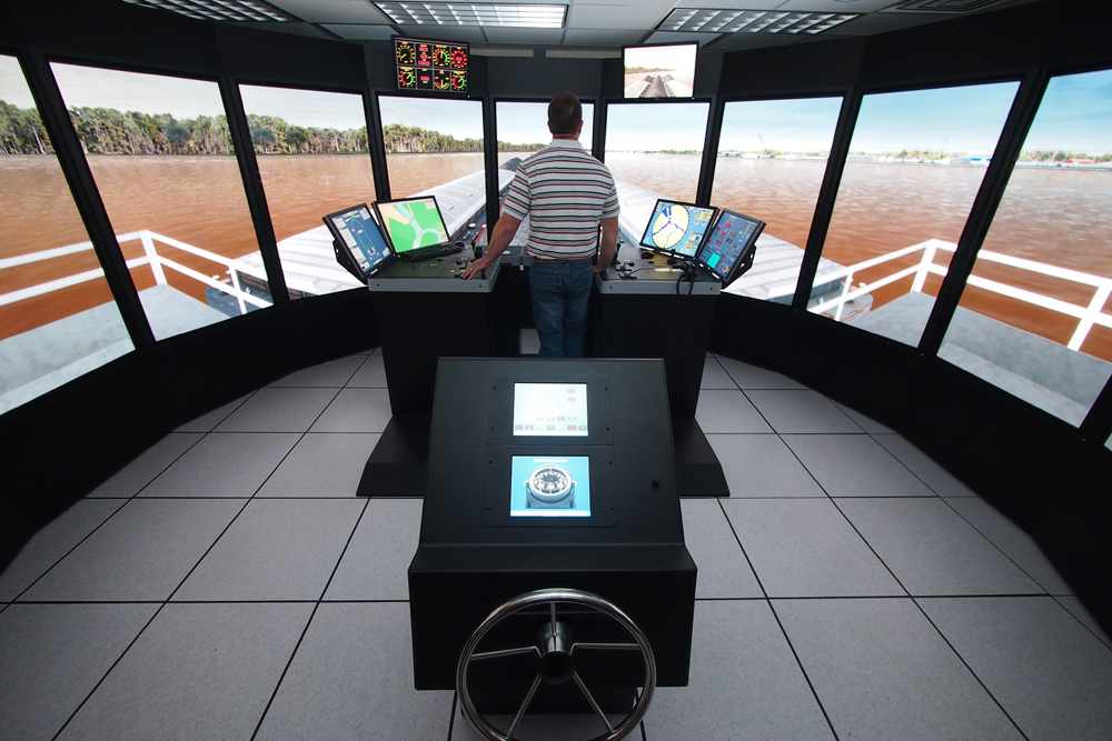 Inside the Ship-Tow Simulator at ERDC's Coastal and Hydraulics Lab.