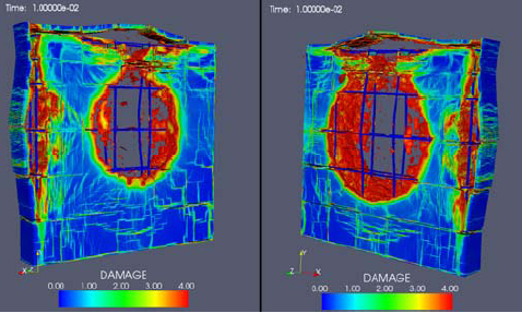 This image, produced by DAAC visualization tools for the Breaching Project, shows the computed damage caused by a high explosive charge on the outer (left) and inner (right) side of a reinforced concrete wall. Though the concrete is damaged, the rebar is still intact.
